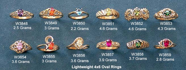 """We started with 2 each our 12 piece assortment of lightweight 4x6 ladies oval rings pictured above. These waxes have """"prenotched"""" heads to hold the stones."""